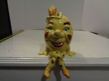 VTG Humpty Dumpy Sat on a Wall Ceramic Coin Bank Sitting Anthropomorphic Egg