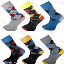 12 Pairs Mens Bright Argyle Funky Socks Coloured Smart Suit Adults 6-11