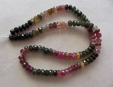 "14"" Strand Watermelon Tourmaline Gemstone Faceted Rondelle Beads 5mm-5.5mm"