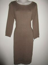CALVIN KLEIN NWT $134.00 Olive Wave-Knit Dress, Knee-Length, 3/4 Sleeves, M