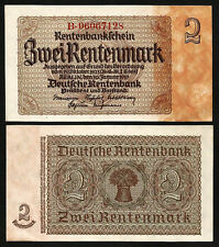 Germany 2 Rentenmark 1937 Unc P.174b With Completely Watermark & Seal At Right