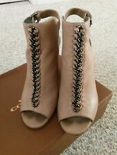 Coach Leather Sanford Soft Milled lthr Nude Booties Size 5.5 with original box