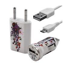 Mini Chargeur 3en1 Auto + Secteur USB + Câble Data avec HF12 pour HTC : One /