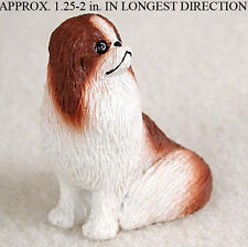 Japanese Chin Mini Resin Hand Painted Dog Figurine Red/White