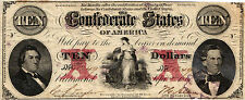 "1861 $10.00 Confederate States of America ""Hope & Anchor"" Csa Wtmk T26-177 F/Vf-"