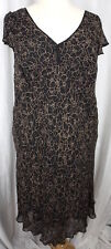 Nine West Womens Brown Floral Silk Fully Lined Short Split Sleeve Dress Size 24W