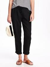 Old Navy Women's Black Linen Blend Cropped Pants Size L Tall