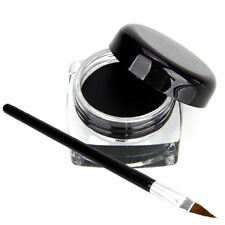 New Women's Waterproof Black Eye Liner Shadow Gel Makeup Cosmetic + Brush Set