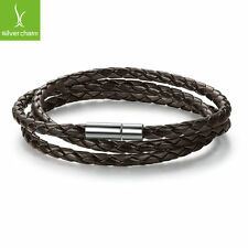 European Women Fashion Brown Leather Bracelet With Hand Knit Fine Charm Jewelry