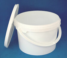 5 x 3000ml White Plastic Tamper Proof Tubs/Buckets with Lids & Handles