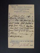 West Shore Railroad Freight Notice Kingston Office Postal Card 1889 NYC HRRR