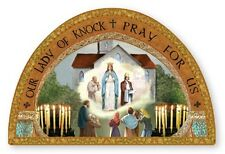 OUR LADY OF KNOCK GOLD FOIL WOODEN PLAQUE / PICTURE STATUES CANDLES ALSO LISTED