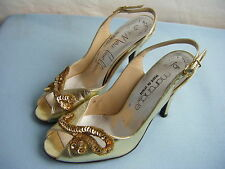 """Stuart Weitzman for Martinque""Vtg 70s Golden Sequin Open Toe Heels- 7M"