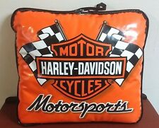 Vintage Harley Davidson Cycles Motor Sports Vinyl Pillow Seat Cushion