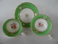 ANTIQUE 1825+ GEORGIAN JOHN ROSE COALPORT ROCOCO TRIO GREEN GOLD & FLORAL