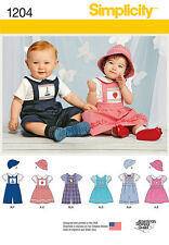 Simplicity Pattern 1204 BABIES' ROMPER OR JUMPER, HATS AND KNIT BODYSUIT clothes
