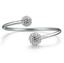 Fashion Jewelry 925 Sterling Silver Plated Womens Balls Opening Bangle Bracelet