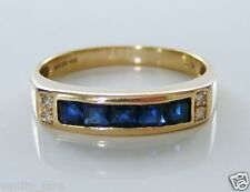 Beautiful 9ct Gold Sapphire & Diamond Eternity Style Ring Size N