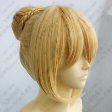 TT -402Fate Stay Night Saber Cosplay Wig Gold color Clip Bun