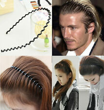 Metal Men's Women Unisex Wavy Hair Head Hoop Band Sport Headband Hair Accessory