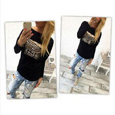 Womens Loose Pullover T Shirt Long Sleeve Cotton Tops Blouse Print New