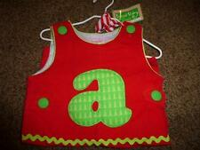 MudPie Red Corduroy Initial Letter A Overalls  Christmas Size 0-6 Month Boy NWT