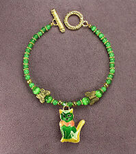 GREEN CELTIC CAT BRACELET Kitten Gold Butterflies Flowers Catseye Irish Crystals
