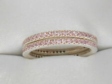 Hidalgo  Set of 2 PINK Diamonique eternity bands LAST PAIR, Sterling SIZE 7