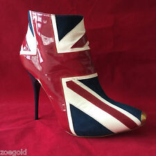 ALEXANDER McQUEEN ICONIC BRITISH FLAG UNION JACK ANKLE BOOTS BOOTIES 36.5 $1260