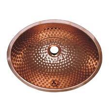 Whitehaus Oval Ball Pein Hammered Textured Undermount Basin Overflow, Copper