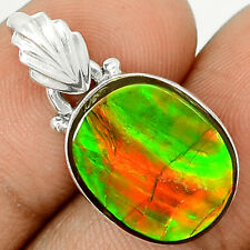 Genuine Canadian Ammolite  925 Sterling Silver Pendant Jewelry SP209339