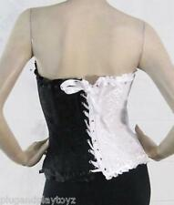 Corset Two Toned Harley Quinn Floral Jester Overbust Zipper Front Lace Back USA