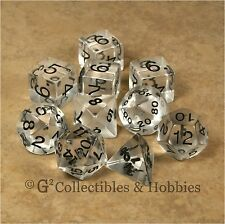NEW 10 Transparent Clear D&D RPG Polyhedral Gaming Dice Set in Tube Koplow