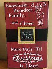 Christmas Countdown Chalkboard Santa's Belt Buckle Reindeer Sign