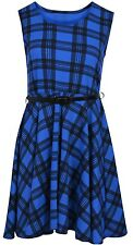 Womens Ladies Sleeveless Belted Skater Franki Swing Dress Flared Tea Tartan