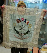 World War 1 souvenir / silk & lace embroidered flags USA & France / pillow case
