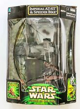 STAR WARS Power of the Jedi Imperial AT-ST & Speeder Bike With Ewok Playset Toys