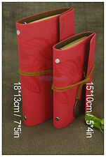 Leaves Leather Bound Journal Portable Notebook Refillable Blank Books Diary Pink