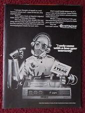 1981 Print Ad Hitachi VCR Video Cassette Recorder ~ Robot with One Year Warranty