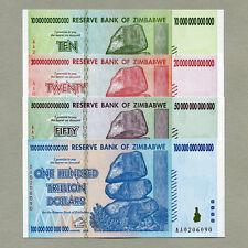 Zimbabwe 100 50 20 10 Trillion Dollars 2008 full set UNC currency bills
