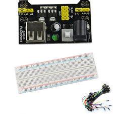 MB102 830 Steckbrett Breadboard + 65 Drahtbrücken + 3.3V/ 5V Netzteil-Adapter