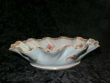 ANTIQUE PORCELAIN Gilded Fruit Bowl Scalloped Sides HERMANN OHME SILESIA 1900-20