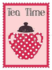 ILLUSTRATION FOOD DRINK TEA TIME POLKA DOT RED URN POSTER ART PRINT VE078A