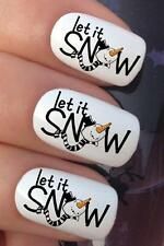 CHRISTMAS NAIL ART SET #782 SNOWMAN LET IT SNOW WATER TRANSFER DECALS STICKERS