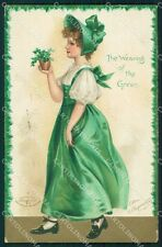St Patrick Day Clapsaddle Relief postcard cartolina QT5906
