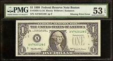 1999 $1 DOLLAR BILL MISSING PRINT ERROR NOTE CURRENCY PAPER MONEY PMG 53 EPQ