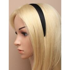 Black Matt Satin 2.5cm Headband School Hair band with suede style fabric inner