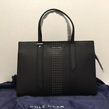 NWT Cole Haan Vestry Studded Satchel Purse Tote Bag Black $279