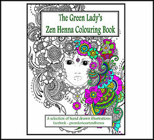 Adult Colouring book Zen Henna anti stress Green Lady garden calm art therapy