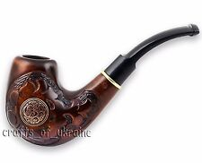 "Hand-Carved Tobacco Pipe SARMAT 6.1"" Smoking Pipes ECO Pear Wood + 9mm Filter"